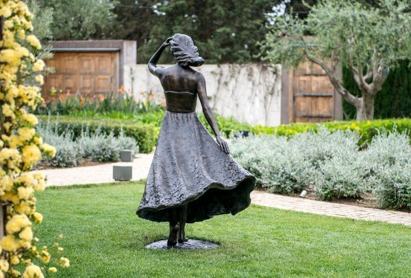 #Bronze #sculpture by #sculptor Anthony Smith titled: 'Girl with Flowing Dress (life size Yard garden statue)'. #AnthonySmith
