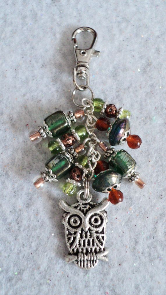 Beaded Handbag Charm Zipper Pull  FALL OWL by uniquelyyours2010, $10.50