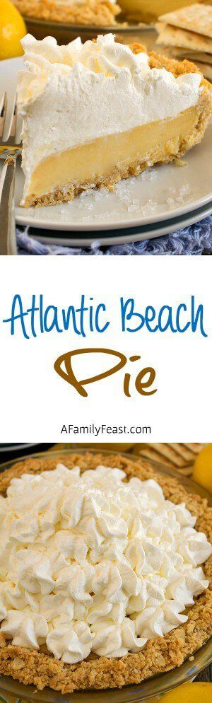Atlantic Beach Pie - A uniquely delicious lemony custard pie, topped with whipped cream in a saltine cracker crust. A perfect salty-sweet dessert!