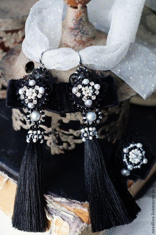 """Купить комплект серьги+кольцо """"Магия ночи"""" - черный, вышитые серьги, вечерние серьги, длинные серьги"""