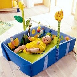 The Haba Dream Meadow infant play mat! It's been discontinued, but this would be a fun project to make for baby to play & learn in!!!