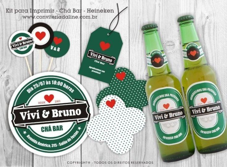 Kit digital de Chá Bar para Imprimir tema Heineken                                                                                                                                                                                 Mais