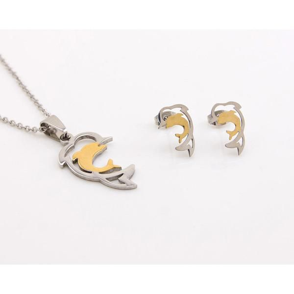 Graceful Dolphin Jewelry Set Necklace and Earrings