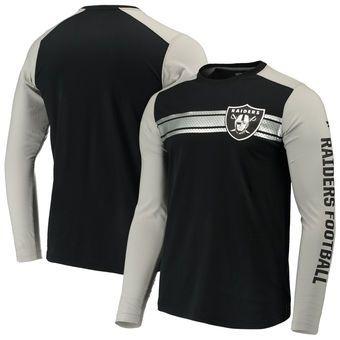 Oakland Raiders NFL Pro Line by Fanatics Branded Iconic Long Sleeve T-Shirt – Black/Heathered Gray