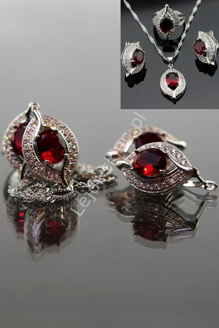 Silver jewelry , 925. Earrings, necklace. Zestaw srebro 925 - naszyjnik, pierścionek, kolczyki, czerwony kamień   biżuteria srebrna, swarovski