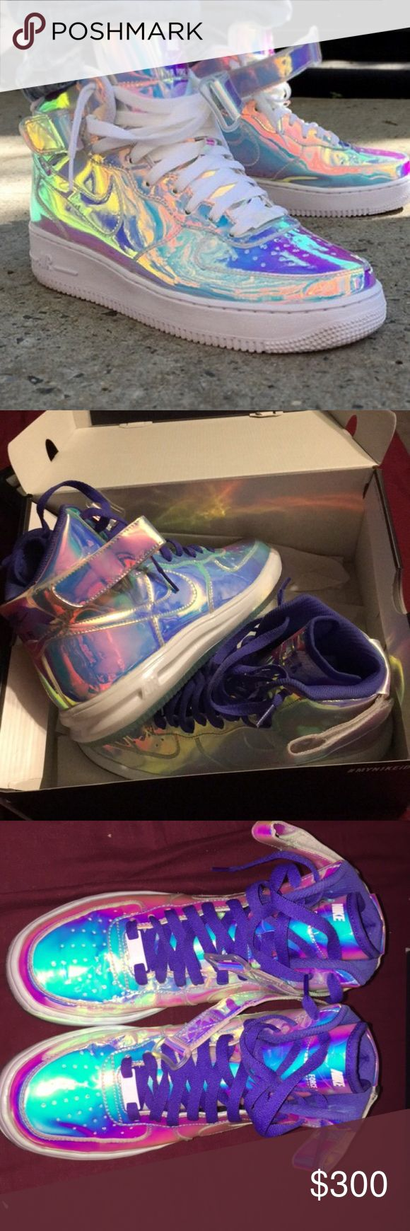 Nike Lunar Force 1 Iridescent Nike iD Men's size 7. Will fit women's 8.5 or 9. Never worn. Comes with box. Holographic iridescent color. Super rare. Purple laces. Comment for any questions. Nike Shoes Sneakers