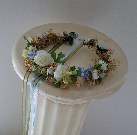 Polvoriento y salvia azul flores secas corona boda accesorios