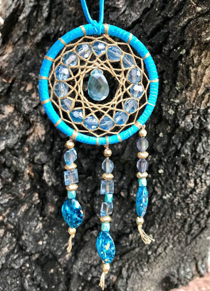 Excited to share the latest addition to my #etsy shop: Aqua gold small car dream catcher hippie car decor