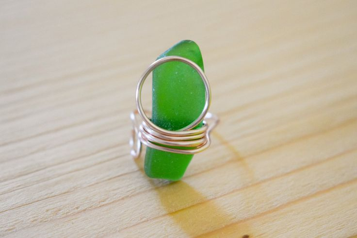 SUMMER SALE! Silver plated rose gold wire wrapped genuine emerald green sea glass, adjustable ring, statement ring, boho ring by Christinasfamily on Etsy