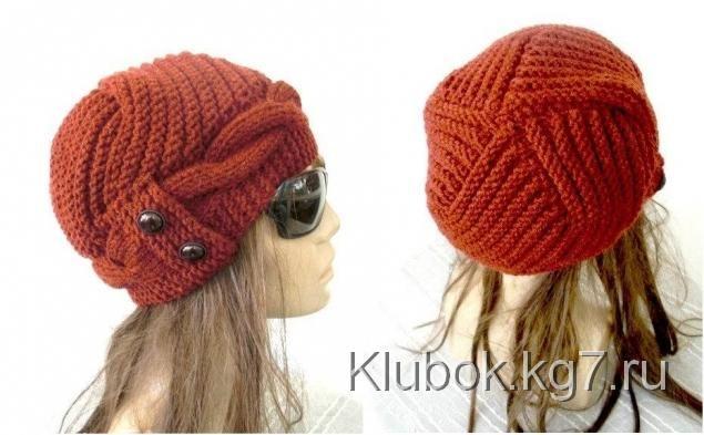 Красивая вязанная шапка   Клубок