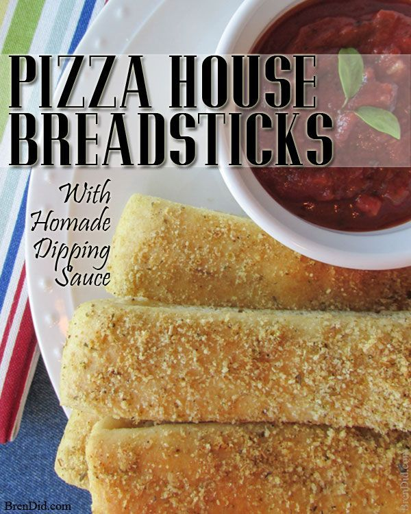 These look delicious, Pinning to try! Friday night homemade pizza night → my kids demand pizza breadsticks (our healthier version of Pizza Hut breadsticks) with homemade pizza sauce for dipping. Also includes pizza crust recipe. BrenDid.com