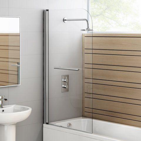 800mm - 4mm - Straight Bath Screen & Towel Rail - soak.com
