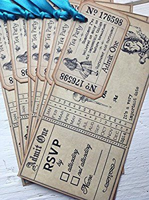 Party in Style Vintage Aged Alice in Wonderland Baby Shower / Christening / Wedding / Birthday Invitations & Tickets (Blue x 6))