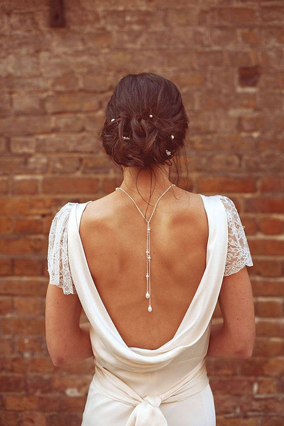 Backdrop Necklace Tie Lariat Pearl Crystal Bridal, Love Me Do Back Drop