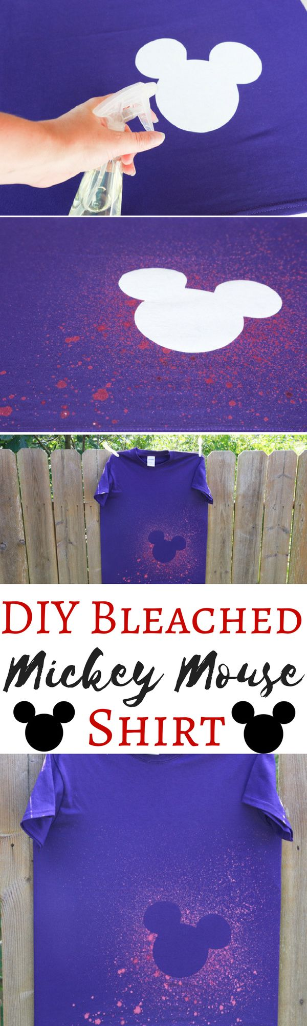 Skip the overpriced shirts at Disney World and make your own before you leave. This DIY Bleached Mickey Mouse shirt turned out great! via @simplymommy