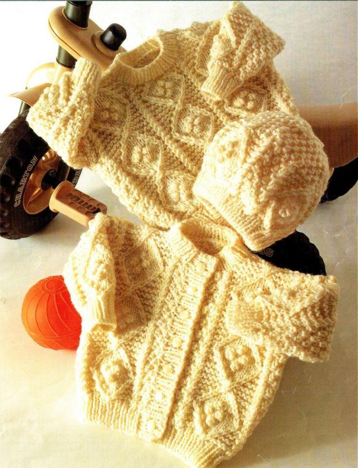 PDF DIgital Baby Childrens Knitting Pattern Aran Sweater Cardigan and Hat Chest 16-22 Aran Yarn £1.25
