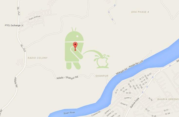 Android a urinar no logotipo da Apple surge no Google Maps