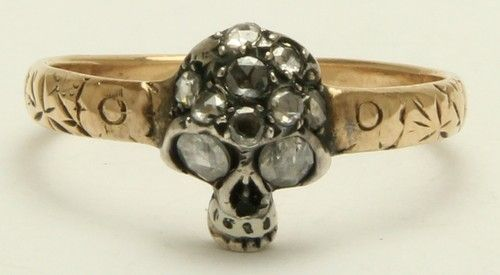 A Stunning Georgian Memento Mori Rose Diamond Skull Ring Circa 1800's
