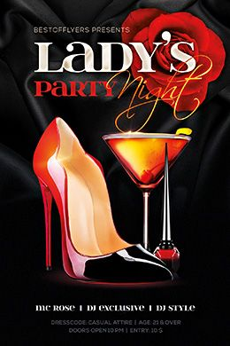 Lady's Night Party PSD Flyer Template