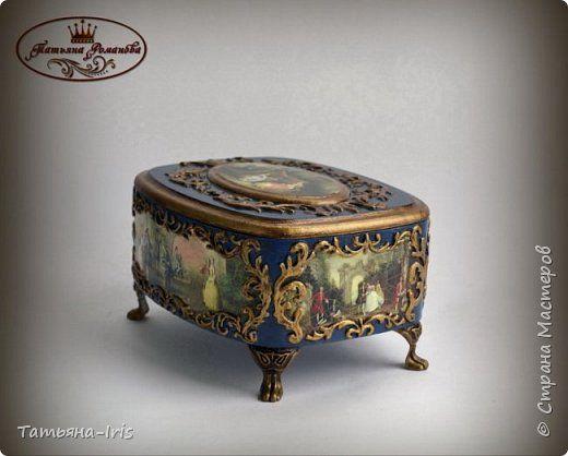 Декор предметов Декупаж Шкатулка Галантный век Краска фото 3
