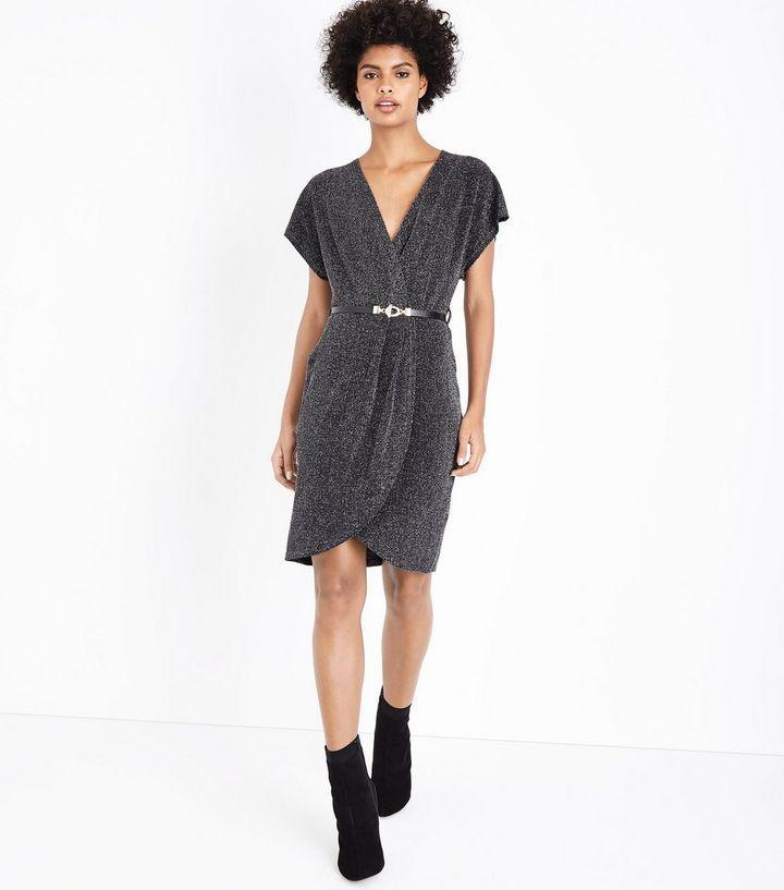 Mela Silver Glitter Wrap Front Dress | New Look