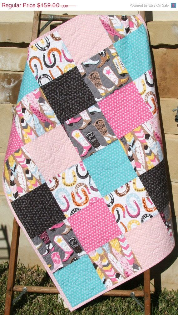 Hey, I found this really awesome Etsy listing at https://www.etsy.com/listing/222623256/western-baby-girl-quilt-luckie-by-blend