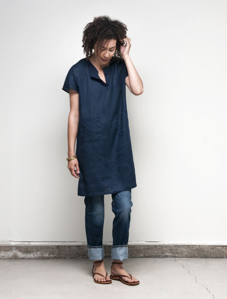 [WEAR AS A TUNIC, LIKE IN THIS PICTURE] - Fiona Dress: Blue Nuit – Shop Fog Linen