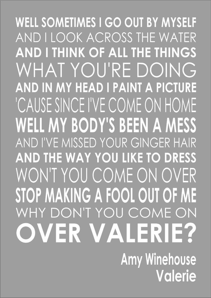 Valerie Mark Ronson Amy Winehouse  Word Typography Words Lyrics Lyric Wall Art