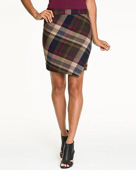 Check Viscose Blend Faux Wrap Skirt