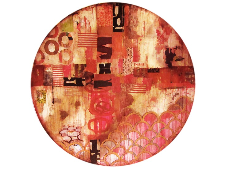 """Jill Ricci - """"Plan B"""", mixed media on wood, 62"""" diameter"""