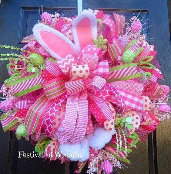 Easter Deco Mesh Wreath Easter Bunny Door by FestivalofWreaths