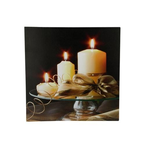 """LED Lighted Flickering Candles with Ribbon Canvas Wall Art 12"""""""" x 12"""""""""""