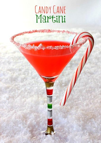 Candy cane infused vodka is the base for this martini. Tart cranberry juice cuts the sweetness to make the perfect holiday drink!