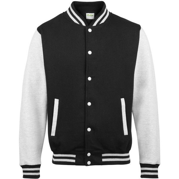 AWDis Hoods Varsity Letterman jacket found on Polyvore featuring outerwear, jackets, letterman jackets, varsity jacket, varsity bomber jacket, varsity style jacket and college jackets