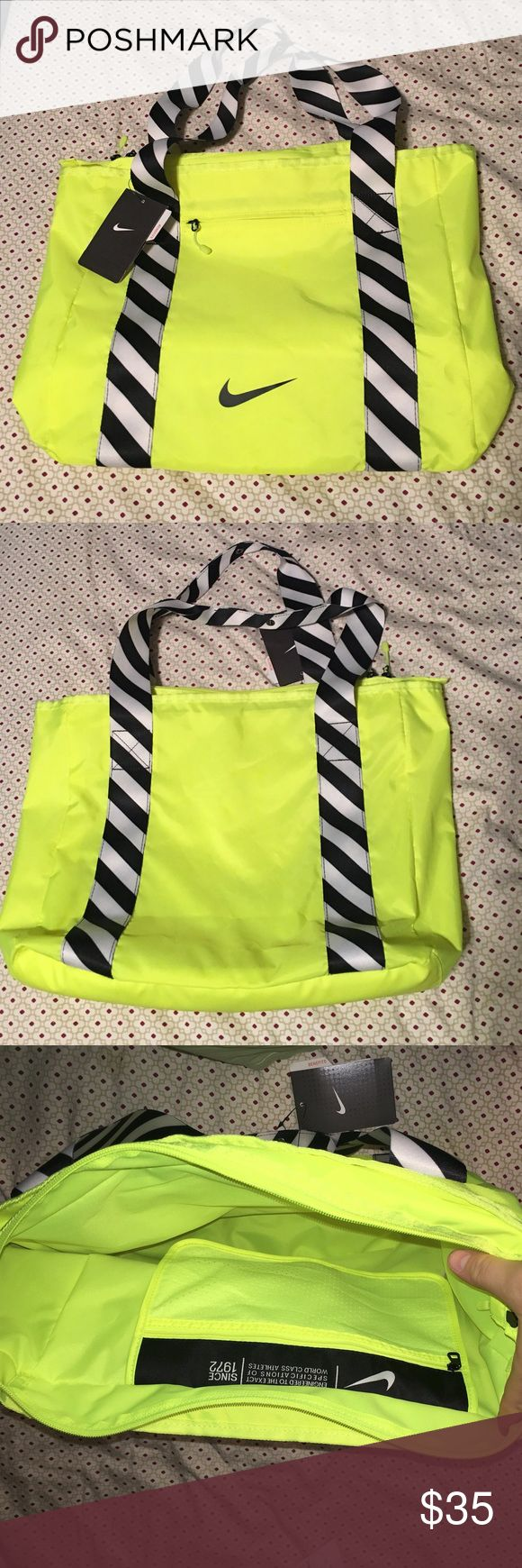 Nike Shoulder Bag Brand new Nike shoulder bag, zips shut with small outer zip pocket and inside zip pouch as pictured. Perfect for the gym, school, or just everyday carry bag! Neon yellow with black and white striped handle. Handles also snap together at the top so they won't fall apart while on your shoulder. Open to offers and questions! 😌 Nike Bags Shoulder Bags