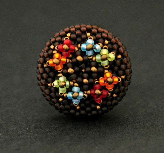Flower copper ring. Beaded ring by quimeras on Etsy