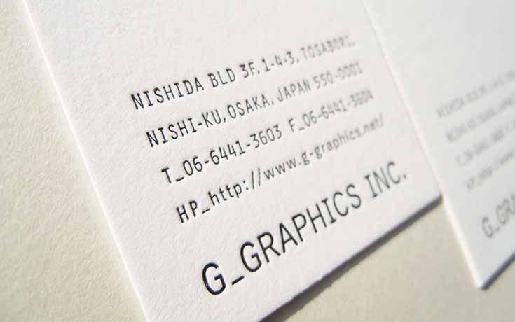 株式会社ジーグラフィックス/名刺 , 活版印刷作品紹介 , 活版名刺ドットコム