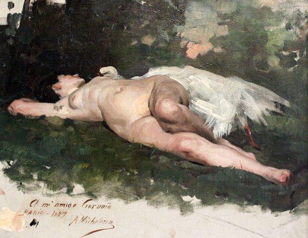 Leda y el cisne, por Arturo Mihelena