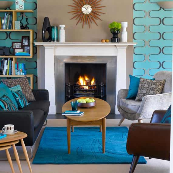 Mid century modern shades of blue living room decoration for Blue living room decor ideas
