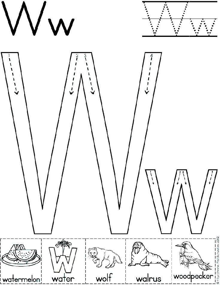 Alphabet Letter W Worksheet | Standard Block Font | Preschool Printable Activity