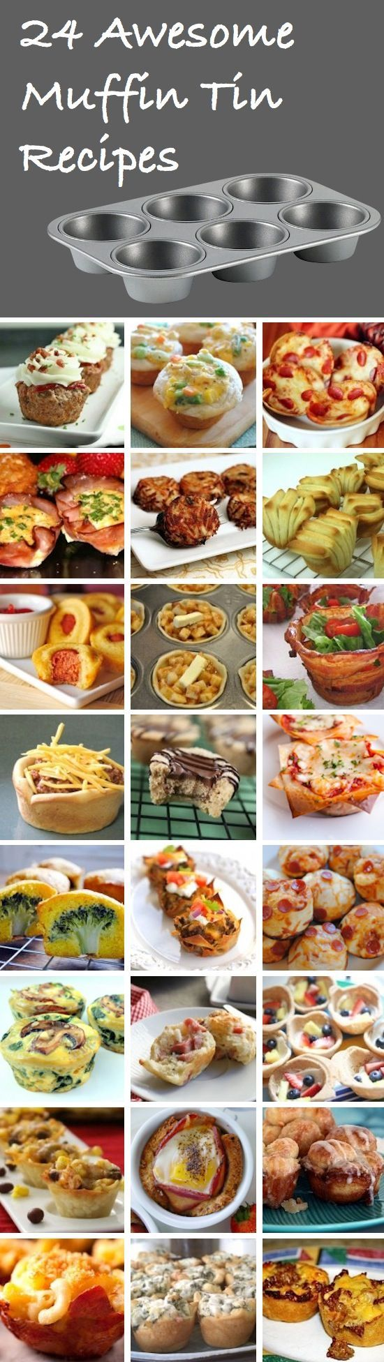 24 Awesome Muffin Tin Recipes... Try to make them healthy