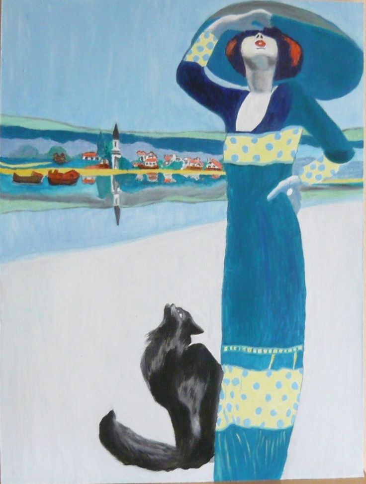 created by: Kovácsné Sz. Éva - 30x40 cm wallboard, oil.   Original painting: A women with cat.(Nő macskával) (Tungsram reklám, 1912.) Original Art: Faragó Géza
