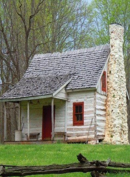Old Log Farm House With Stone Chimney