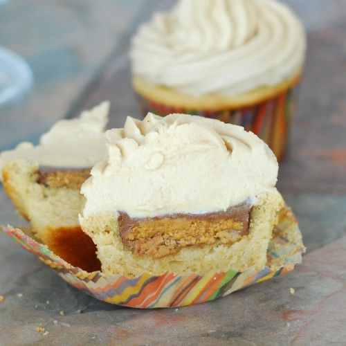Peanut Butter Cup Stuffed Peanut Butter Cupcakes - oh my!