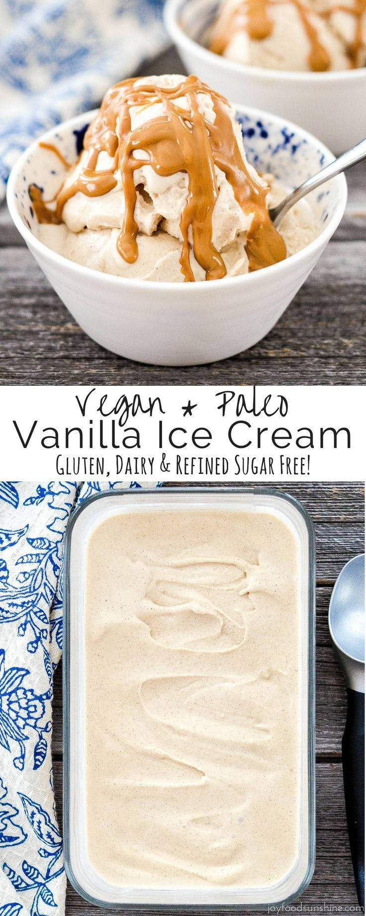 Vegan & Paleo Vanilla Ice Cream! Made with only 5 ingredients! Gluten, dairy & refined sugar free! Made in the Vitamix!