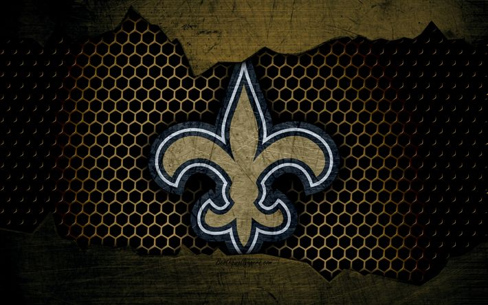 Download wallpapers New Orleans Saints, 4k, logo, NFL, american football, NFC, USA, grunge, metal texture, South Division https://www.fanprint.com/licenses/new-orleans-saints?ref=5750