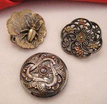 Antique Buttons ~ Bug  Filigree and Steel Cut