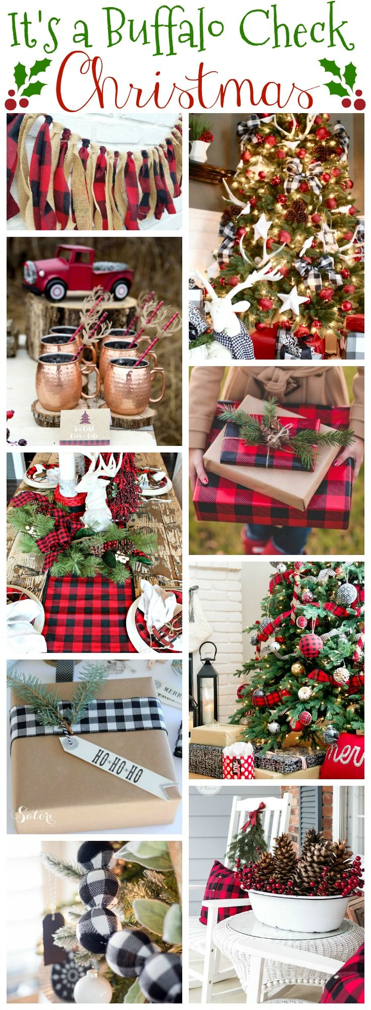 Country christmas table decoration ideas - Buffalo Check Christmas Decor Wrap Ideas