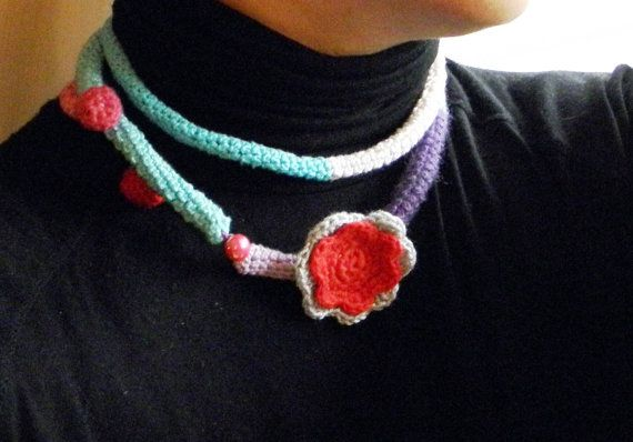 cotton crochet necklace by ginageo on Etsy