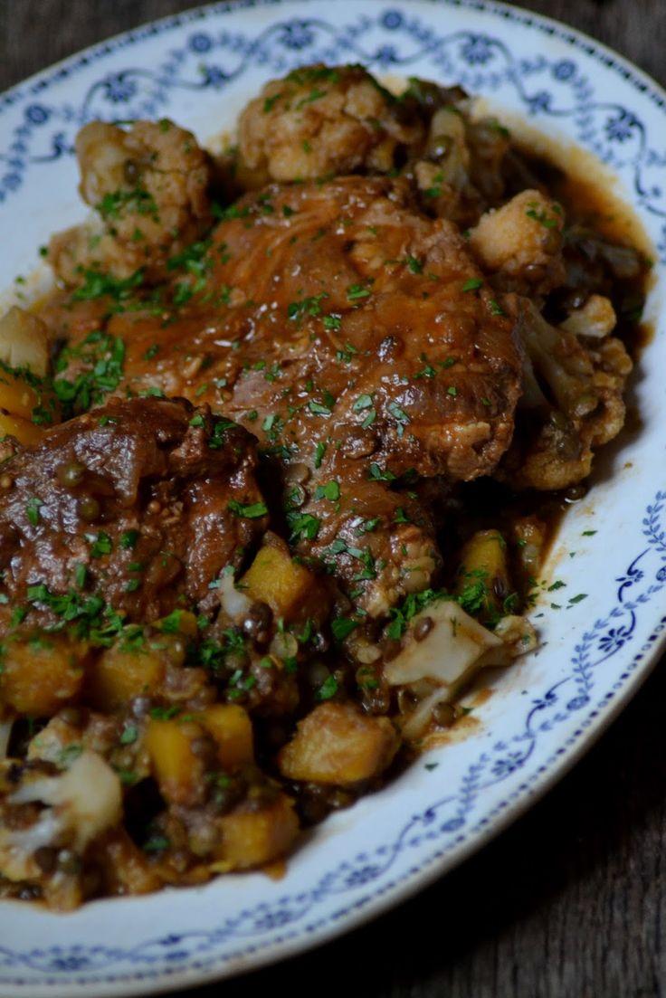 Stoofpot: Indiase curry van lamsvlees, linzen, bloemkool en pompoen